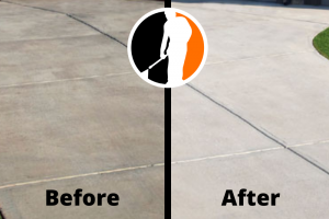 driveway cleaning before and after photo