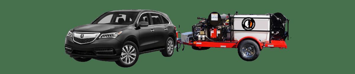 Acura MDX and pressure washing equipment trailer