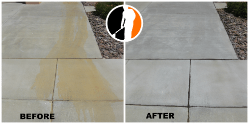 Concrete rust stain removal before and after photo